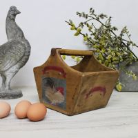 Cole Of Bristol Rustic Egg Basket Vintage Wooden Crate Fresh Eggs Box